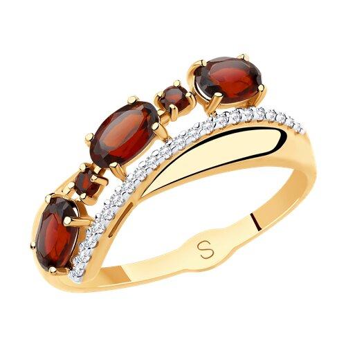 Кольцо из золота с гранатами и фианитами (715482) - фото