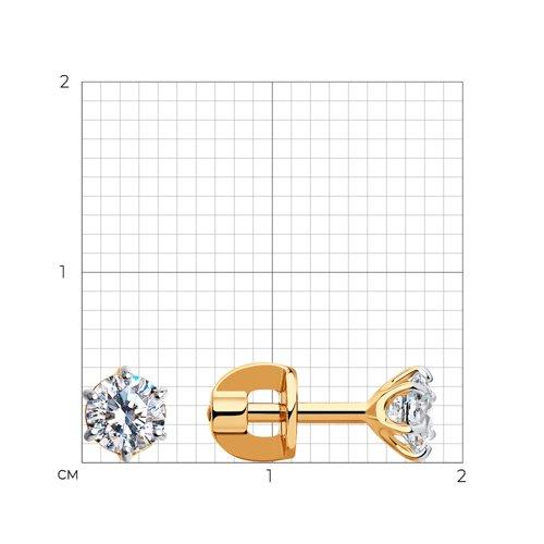 Серьги-пусеты из золота с фианитами (026933) - фото №2