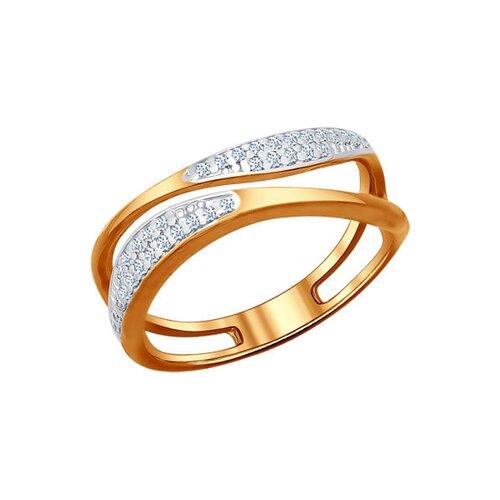 Кольцо из золочёного серебра с фианитами (93010423) - фото