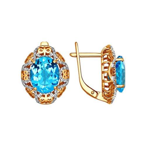 Ажурные серьги с крупным голубым топазом SOKOLOV ажурное кольцо с крупным голубым топазом sokolov