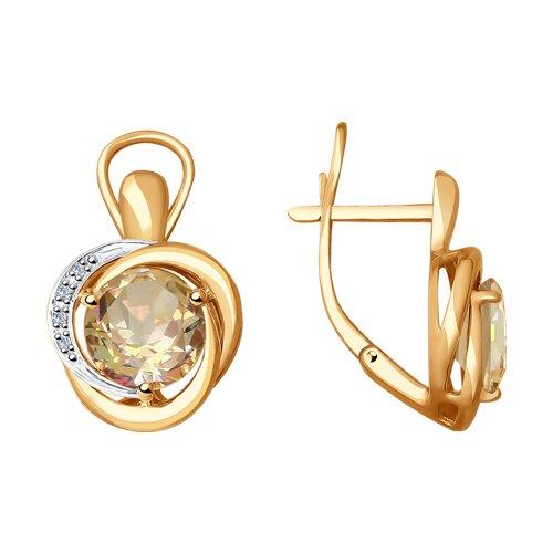 Серьги из золота с бриллиантами и морганитами (6024096) - фото