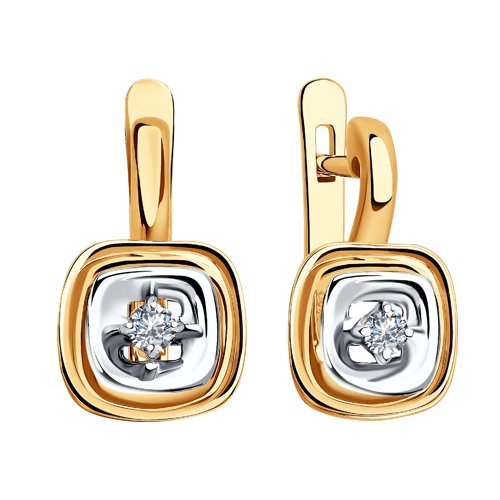 Серьги из комбинированного золота с бриллиантами (1021300) - фото №2