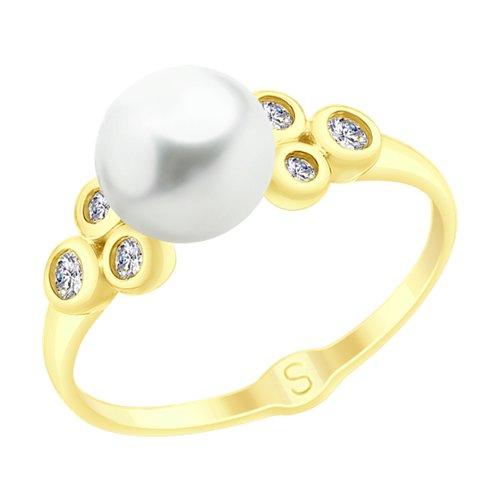 Кольцо из желтого золота с жемчугом и фианитами (791068-2) - фото