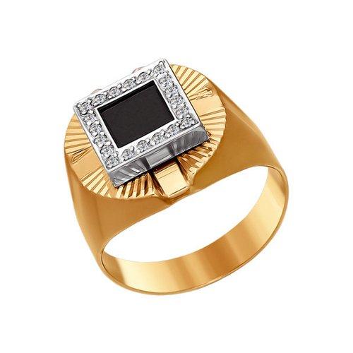 Печатка из комбинированного золота с алмазной гранью с ониксом и фианитами