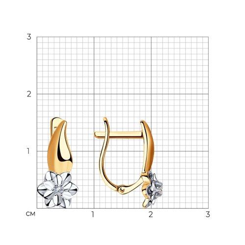 Серьги из комбинированного золота с бриллиантами 1021312 SOKOLOV фото 2