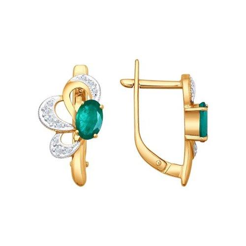 Серьги из золота с бриллиантами и хризопразами