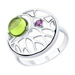 Кольцо из серебра с хризолитом и фианитом