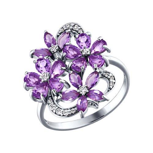 Серебряное кольцо c сиреневыми цветками из аметистов