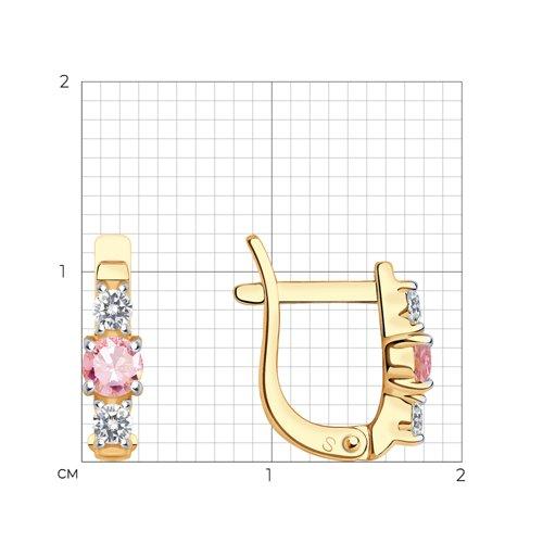 Серьги из золота с розовыми фианитами (026839) - фото №2