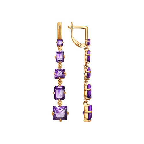 Фото - Серьги длинные SOKOLOV из золота с аметистами серьги длинные sokolov из золота cо swarovski zirkonia
