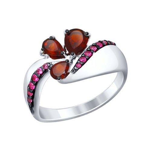 Кольцо из серебра с гранатами и красными фианитами (92011289) - фото