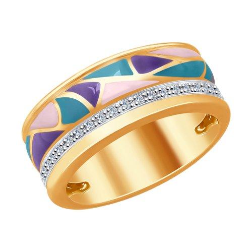 Кольцо из золота с эмалью и бриллиантами (1011708) - фото