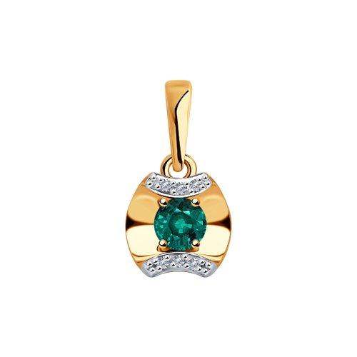 Подвеска из золота с бриллиантами и изумрудом (3030138) - фото