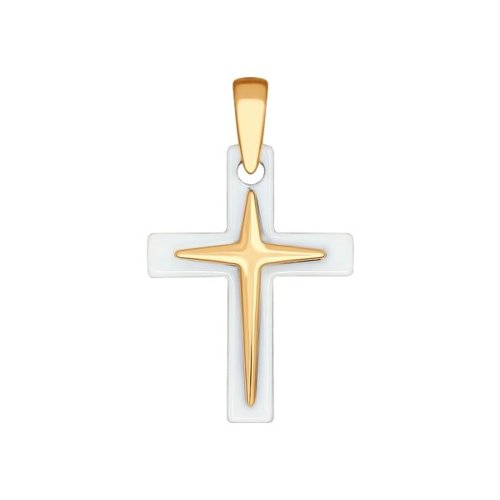 Крест из золота с керамической вставкой