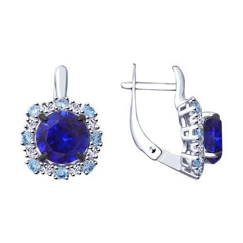 Серьги из серебра с синими корунд (синт.) и фианитами (88020059) - фото