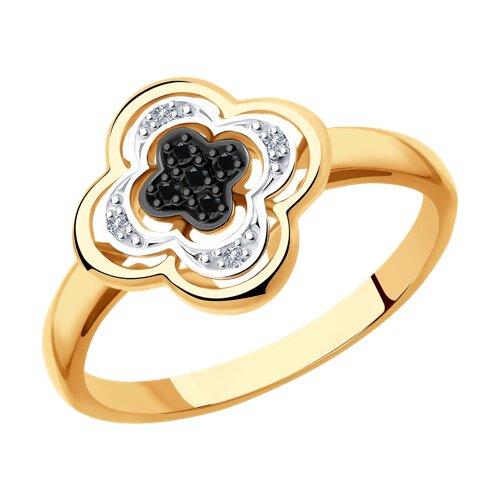 Кольцо из золота с бесцветными и чёрными бриллиантами (7010060) - фото