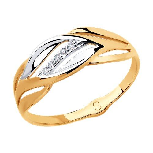 Кольцо из золота с фианитами (018111) - фото