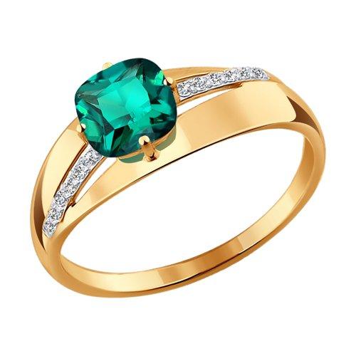 Кольцо из золота с изумрудом гидротермальным и фианитами (715845) - фото