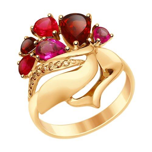 Золотое кольцо с гранатом (714833) - фото