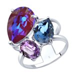 Кольцо из серебра с кристаллами Swarovski