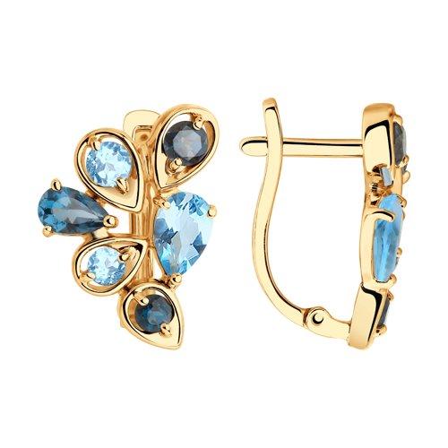 Серьги из золота с голубыми и синими топазами (725807) - фото