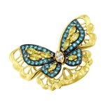 Кольцо с бабочкой из жёлтого золота