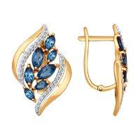 Серьги из золота с синими топазами и фианитами
