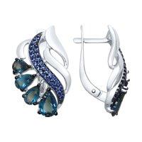 Серьги из серебра с синими топазами и синими фианитами