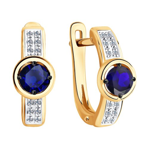 Серьги из золота с бриллиантами и сапфирами (2020929) - фото №2
