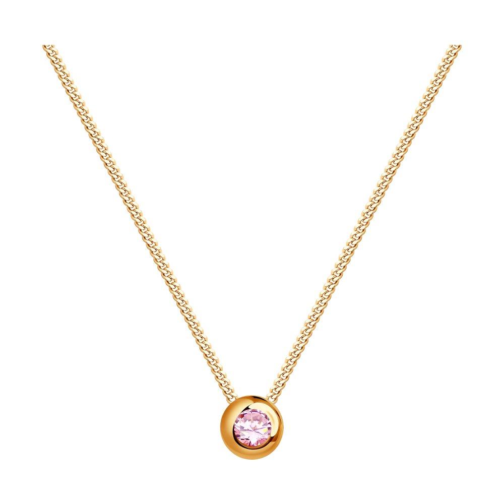 Колье SOKOLOV из золота с розовым сапфиром