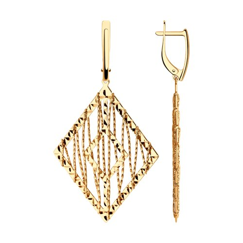 Серьги из золота с алмазной гранью (028706) - фото