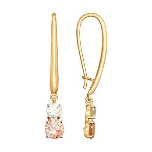 Серьги из золота с бесцветными и розовыми Swarovski Zirconia (81020404) - фото