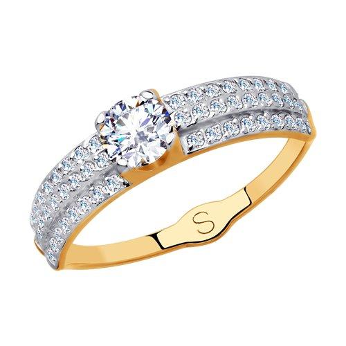 Кольцо из золота с фианитами (017981) - фото