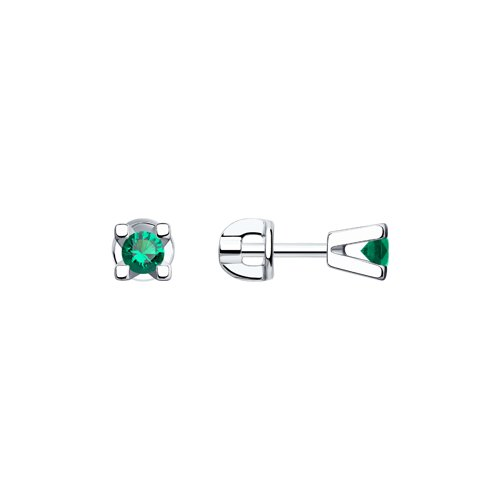 Серьги-пусеты из серебра с зелеными фианитами