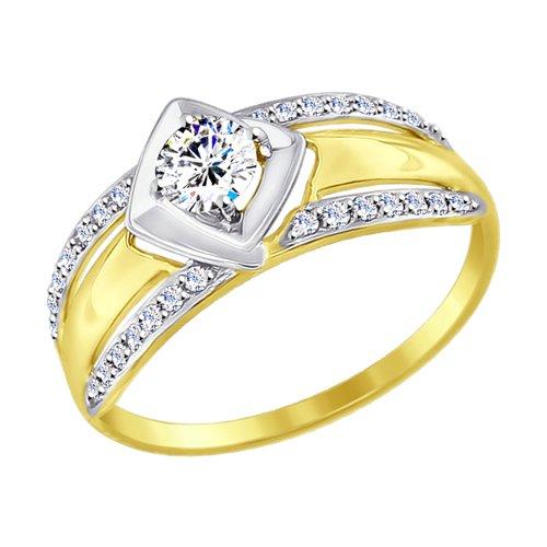 Кольцо из желтого золота с фианитами (017440-2) - фото