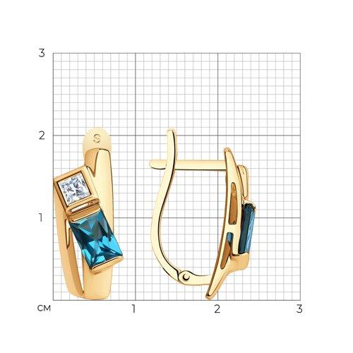 Серьги из золота с синими топазами и Сваровски 725507 SOKOLOV фото 2