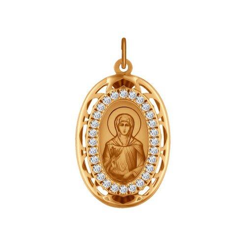 Иконка из золота с лазерной обработкой с фианитами (103485) - фото