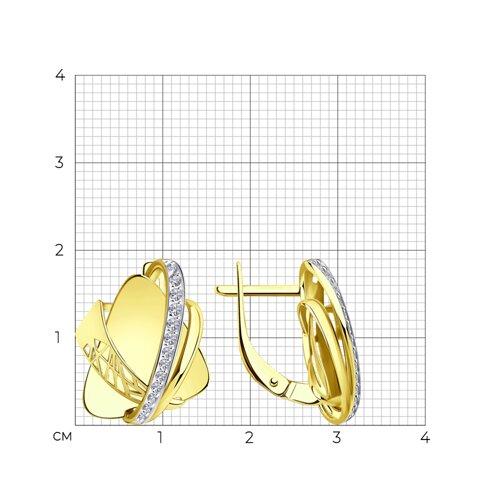 Серьги из желтого золота с фианитами 028818-2 SOKOLOV фото 2