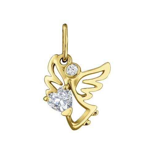 Подвеска ангел SOKOLOV из жёлтого золота с фианитами подвеска на цепочке с открыткой ангел