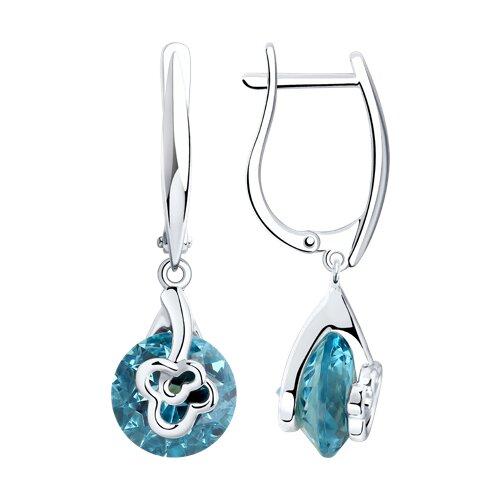 Серьги из серебра с голубыми ситаллами (92022132) - фото