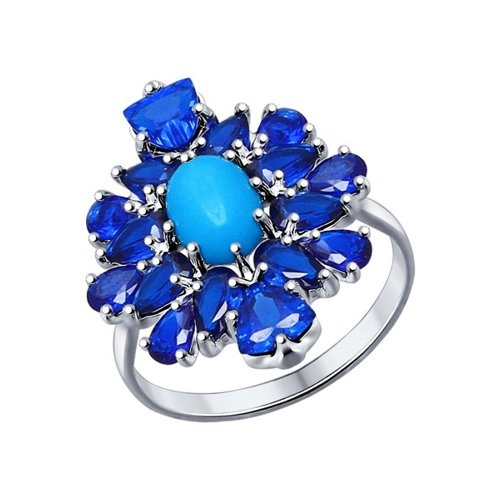 Кольцо из серебра с бирюзой (синт.) и синими фианитами