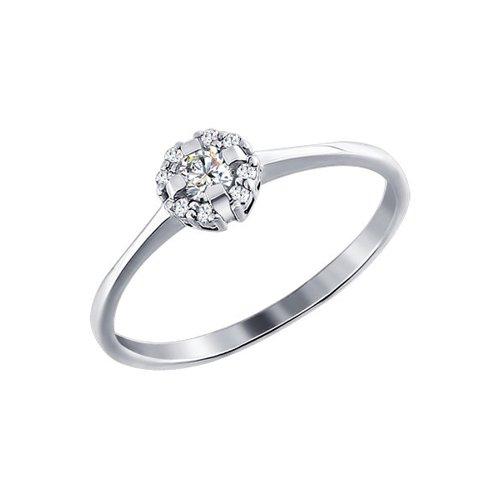 Кольцо SOKOLOV из белого золота c крупным бриллиантом в россыпи