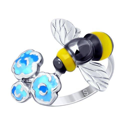 Кольцо из серебра с эмалью «Пчёлка» (94012658) - фото