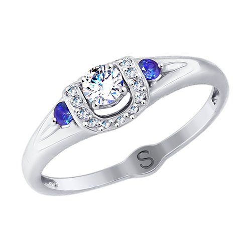 Кольцо из белого золота с бесцветными и синими фианитами