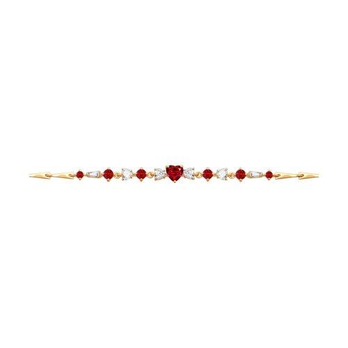 Браслет из золота с бесцветными и красными Swarovski Zirconia (81050018) - фото