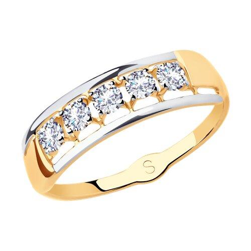 Кольцо из золота с фианитами (018132) - фото