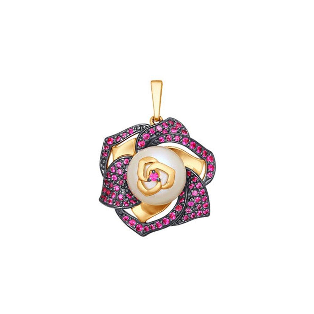 Золотая подвеска «Роза» с жемчугом и фианитами SOKOLOV золотая подвеска в виде бабочки с агатами и фианитами sokolov