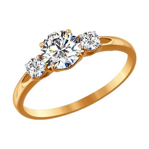 Кольцо из золота со Swarovski Zirconia (81010186-4) - фото