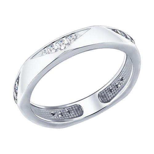 Кольцо из серебра с фианитами (94012401) - фото