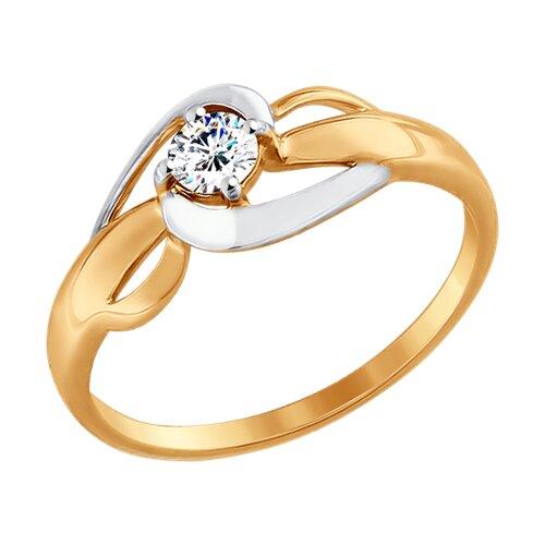 Кольцо из золота с фианитом (017441-4) - фото